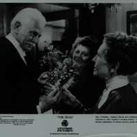 Black and white photograph showing Dan O'Herlihy, Helena Carroll and Cathleen Delaney in a scene from