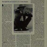 Newspaper article on John Huston, by David Ansen
