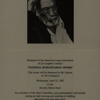 Invitation to John Huston to attend the presentation of the National Humanitarian Award.