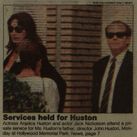 Newspaper clipping, showing Anjelica Huston and Jack Nicholson attending John Huston's memorial service.